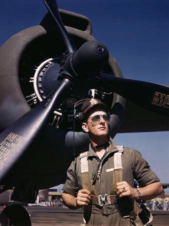 F.W. Hunter, Army Test Pilot, Douglas Aircraft Company Plant at Long Beach, Calif. October 1942