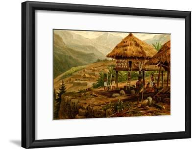 Philippine Village with Natives and Grass Guts on Stilts
