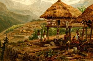 Philippine Village with Natives and Grass Guts on Stilts by F.W. Kuhnert