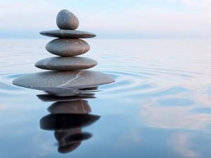 3D Rendering of Zen Stones in Water with Reflection - Peace Balance Meditation Relaxation Concept by f9photos