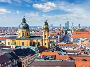 Aerial View of Munich over Theatine Church of St. Cajetan (Theatinerkirche St. Kajetan) and Odeonpl by f9photos