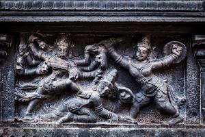 Bas Relief Depicting Durga Slaying Demon (Maheeshasuramardini). Brihadishwara Temple. Tanjore (Than by f9photos