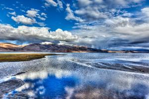 High Dynamic Range Image (Hdr) of Himalayan Mountain Lake in Himalayas Tso Moriri, Korzok, Changtha by f9photos