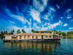 Kerala India Travel Background - Houseboat on Kerala Backwaters. Kerala, India by f9photos