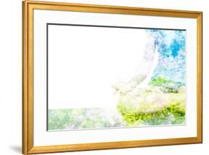 Nature Harmony Healthy Lifestyle Concept - Double Exposure Clouse up Image of Woman Doing Yoga Asa by f9photos