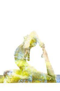 Nature Harmony Healthy Lifestyle Concept - Double Exposure Image of Woman Doing Yoga Asana King Pig by f9photos