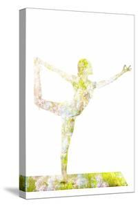 Nature Harmony Healthy Lifestyle Concept - Double Exposure Image of Woman Doing Yoga Asana Lord Of by f9photos