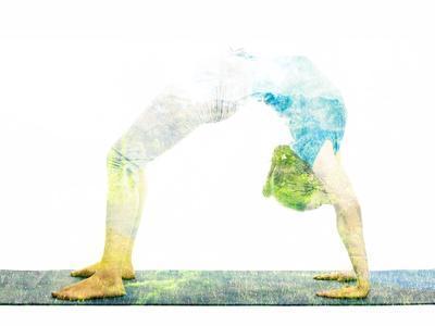 Nature Harmony Healthy Lifestyle Concept - Double Exposure Image of Woman Doing Yoga Asana Upward B
