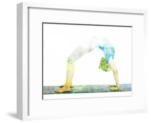 Nature Harmony Healthy Lifestyle Concept - Double Exposure Image of Woman Doing Yoga Asana Upward B by f9photos