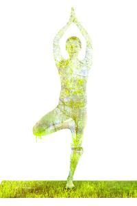 Nature Harmony Healthy Lifestyle Concept - Double Exposure Image of Woman Doing Yoga Tree Pose Asan by f9photos