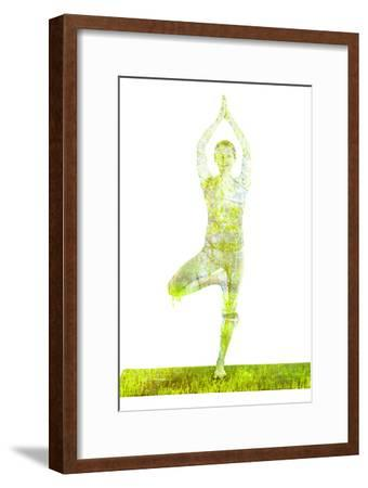 Nature Harmony Healthy Lifestyle Concept - Double Exposure Image of Woman Doing Yoga Tree Pose Asan