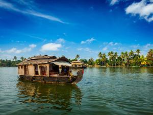 Travel Tourism Kerala Background - Houseboat on Kerala Backwaters. Kerala, India by f9photos