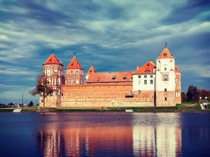 Vintage Retro Effect Filtered Hipster Style Travel Image of Medieval Mir Castle Famous Landmark in by f9photos