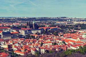 Vintage Retro Hipster Style Travel Image of Aerial Panorama of Hradchany: the Saint Vitus (St. Vitt by f9photos