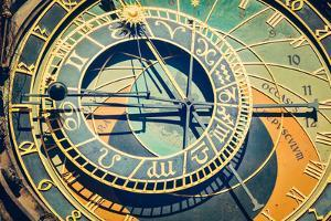 Vintage Retro Hipster Style Travel Image of Astronomical Clock on Town Hall. Prague, Czech Republic by f9photos