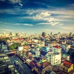 Vintage Retro Hipster Style Travel Image of Bangkok Aerial View . Thailand by f9photos