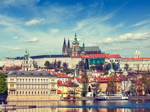 Vintage Retro Hipster Style Travel Image of Charles Bridge over Vltava River and Gradchany (Prague by f9photos