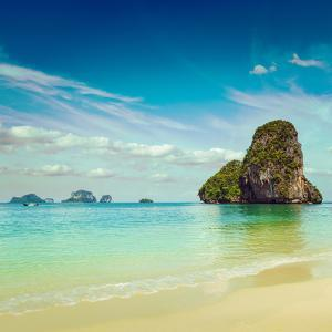 Vintage Retro Hipster Style Travel Image of Pranang Beach. Krabi, Thailand by f9photos