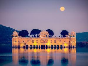 Vintage Retro Hipster Style Travel Image of Rajasthan Landmark - Jal Mahal (Water Palace) on Man Sa by f9photos