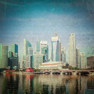 Vintage Retro Hipster Style Travel Image of Singapore Business District Skyscrapers and Marina Bay by f9photos