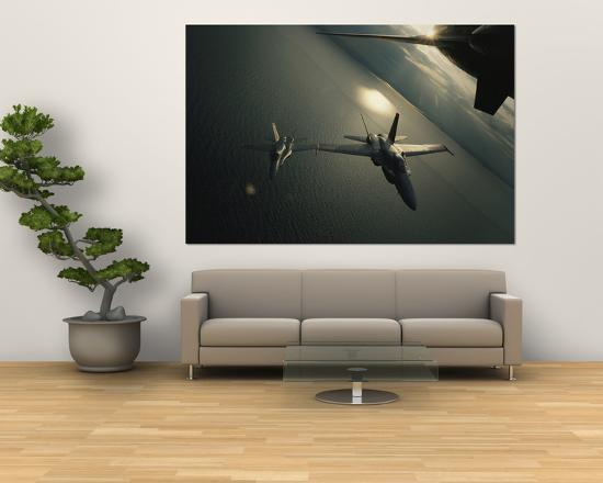 FA-18 Navy Jets in Flight over the Chesapeake Bay--Giant Art Print