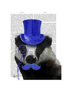 Badger with Blue Top Hat and Moustache by Fab Funky