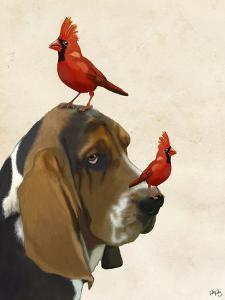 Basset Hound and Birds by Fab Funky
