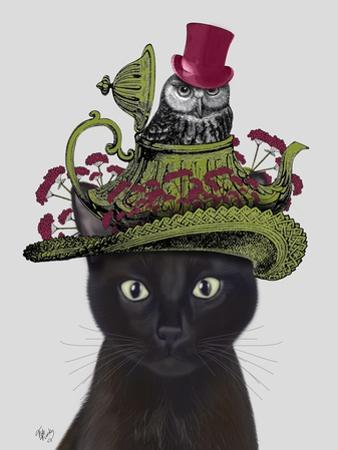Black Cat with Teapot and Owl by Fab Funky