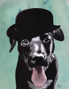 Black Labrador in Bowler Hat by Fab Funky
