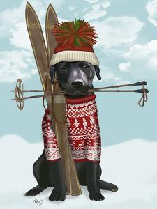 Black Labrador, Skiing by Fab Funky