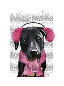 Black Labrador With Ear Muffs by Fab Funky