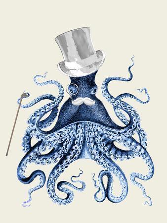 Blue Octopus on Cream b