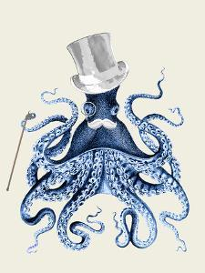 Blue Octopus on Cream b by Fab Funky