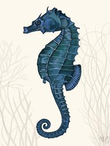 Blue Seahorses on Cream b by Fab Funky