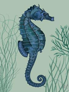 Blue Seahorses on Light Green Sage a by Fab Funky