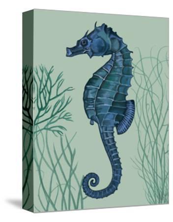 Blue Seahorses on Light Green Sage b