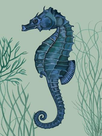 Blue Seahorses on Light Green Sage b by Fab Funky