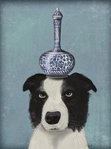 Border Collie with Blue Vase by Fab Funky