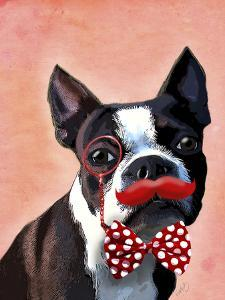 Boston Terrier Portrait with Red Bow Tie and Moustache by Fab Funky