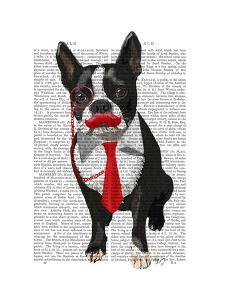 Boston Terrier With Red Tie and Moustache by Fab Funky