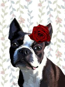 Boston Terrier with Rose on Head by Fab Funky
