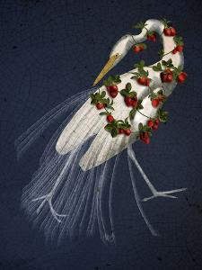 Bound White Heron on blue by Fab Funky