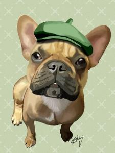 Brown French Bulldog with Green Hat by Fab Funky