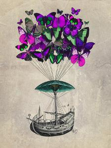 Butterfly Airship 2 Purple and Green by Fab Funky