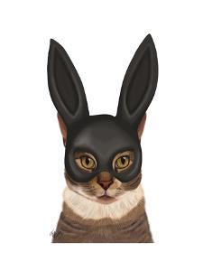 Cat with Bunny Mask by Fab Funky