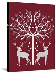 Christmas Des - Deer and Heart Tree, Grey on Red by Fab Funky