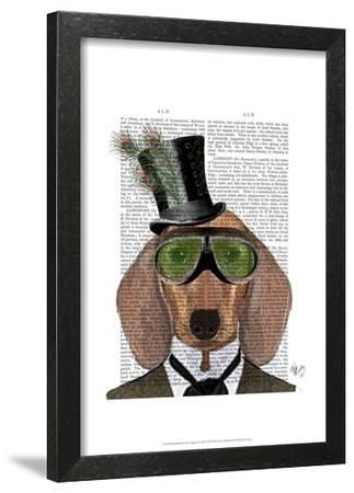 Dachshund Green Goggles Top Hat by Fab Funky