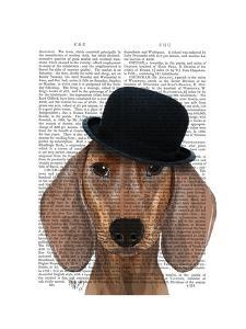 Dachshund with Black Bowler Hat by Fab Funky