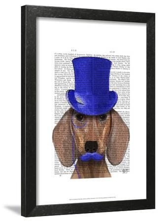 Dachshund With Blue Top Hat and Blue Moustache by Fab Funky