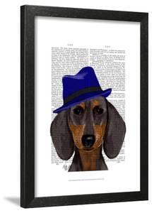 Dachshund With Blue Trilby by Fab Funky